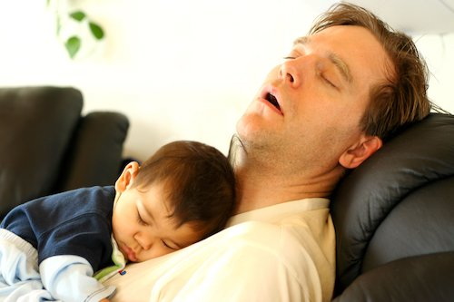 1877744 - father asleep on chair with baby boy on his chest